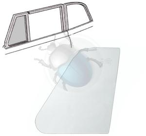 Vw kever tochtraam glas cabrio van 70 tot 72 links & rechts, image 1